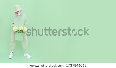 Roses fresh Mint fashion Girl. Urban style. Monochrome color trends. Aqua Menthe aesthetic concept Stock photo ©