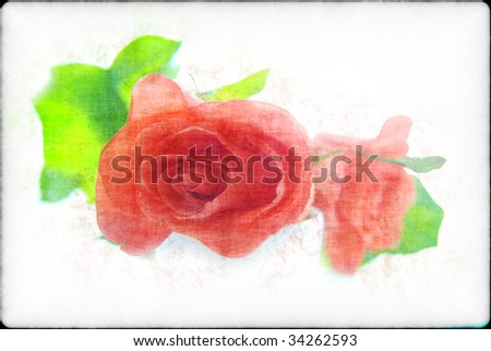 Roses in a retro style on a light background Stock photo ©