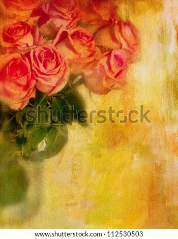 Roses in sunshine. Textured Photo