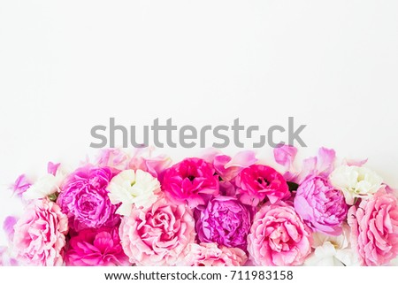 Roses isolated on white background. Flat lay, top view. Floral background