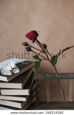 Roses lie on a pile of books , decor