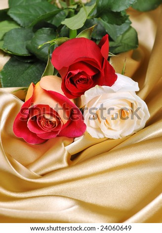 Roses on satin ,quite shallow focus