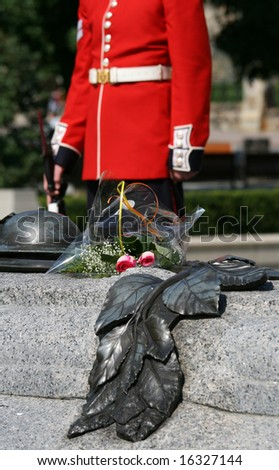 Roses on the Tomb of the Unknown Soldier with a Governor General's Foot Guard nearby. Ottawa, Ontario, Canada.