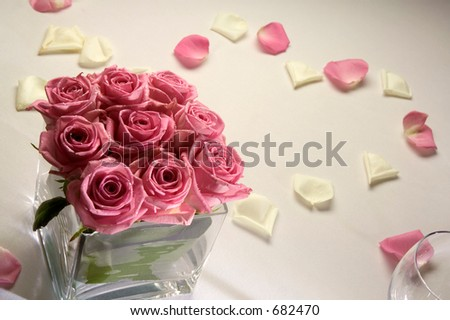 stock photo Roses on wedding table
