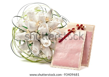 Roses on white background with empty card.
