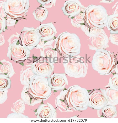Roses pattern gently pink green color flowers repeating backgrounds. Floral seamless cute photo collage artistic design #619732079