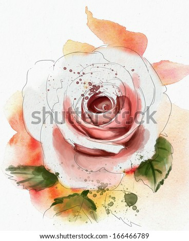 Stock Photo Roses, watercolor painting