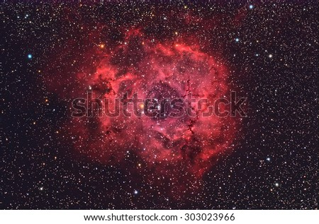 Stock Photo Rosette Nebula NGC2244  with Galaxy,Open Cluster,Globular Cluster, stars and space dust in the universe long expose.