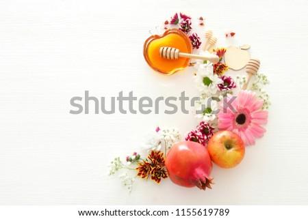 Rosh hashanah (jewish New Year holiday) concept. Traditional symbols #1155619789