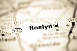 Roslyn on a geographical map of USA