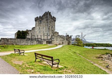 Ross Castle on a cloudy day in Ireland. - stock photo