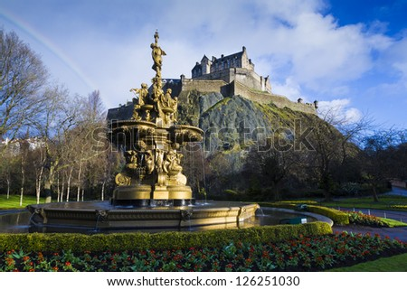 Ross Fountain in Princes Street Gardens, with Edinburgh Castle on the hill behind.
