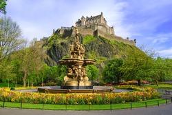 Ross fountain landmark in Pinces Street Gardens. Edinburgh, Scotland, Uk.