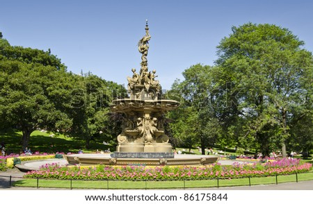 Ross Fountain, Princes Street Gardens, Edinburgh in summer