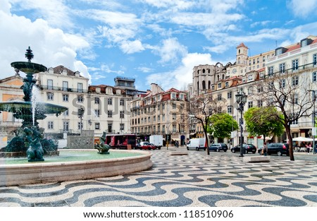 Rossio square with fountain located at Baixa district in Lisbon, Portugal