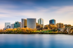 Rosslyn, Arlington, Virginia, USA city skyline on the Potomac River.