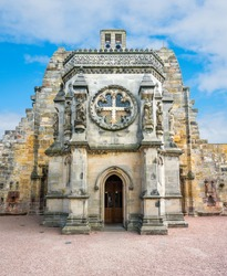 Rosslyn Chapel, located at the village of Roslin, Midlothian, Scotland.