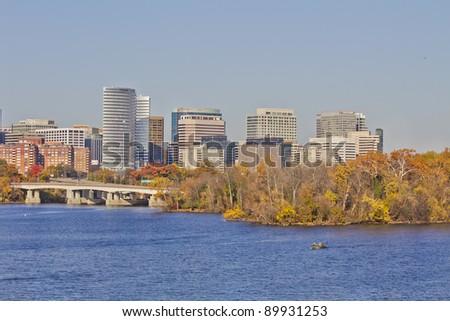 Rosslyn Virginia skyline viewed from Memorial Bridge, Washington, DC
