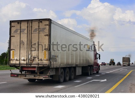 ROSTOV / DON. RUSSIA. M4-DON. June 16, 2016. The trailer transports cars on the highway M4 Don. June 16. Russia #438028021