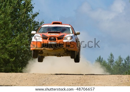 ROSTOV, RUSSIA - JULY 27: Andrey Voroktov drives a Subaru Impreza  car during Rostov Velikiy Russian rally championship on July 27, 2008 in Rostov, Russia.