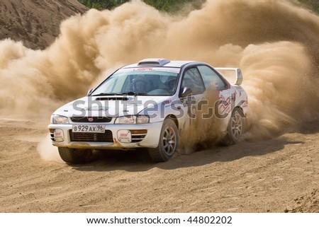 ROSTOV, RUSSIA - JULY 27: Vasiliy Reutov drives a Subaru Impreza  car during Rostov Velikiy Russian rally championship on July 27, 2008 in Rostov, Russia.