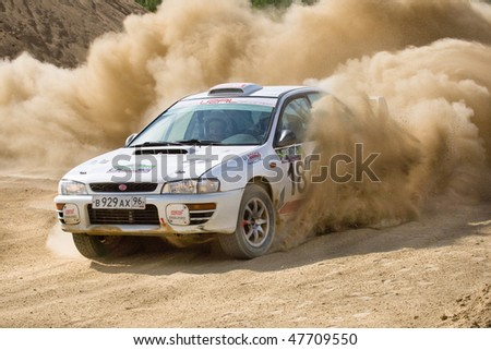 ROSTOV, RUSSIA - JULY 27: Vasiliy Reutov drives a Subaru Impreza  car during Rostov Velikiy Russian rally championship on July 27, 2008 in Rostov, Russia.
