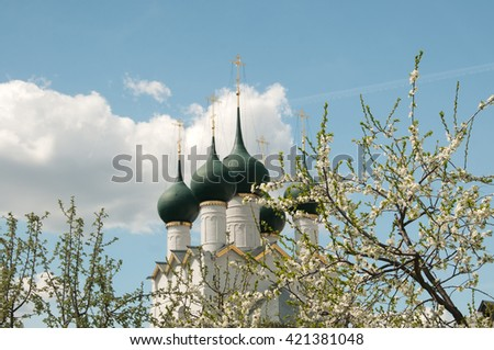 Rostov the Great in spring, the kremlin, The Church Of St. Gregory the Theologian, focus on the leaves. The Golden Ring of Russia #421381048