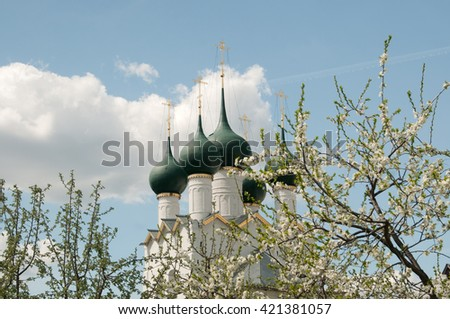Rostov the Great in spring, view to the kremlin, The Church Of St. Gregory The Theologian. The Golden Ring of Russia #421381057