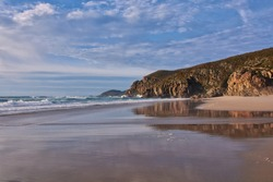 Rostro beach in Finisterre, Galicia, Spain. This wild beach and one of the surfer's paradises in the region of Costa da Morte