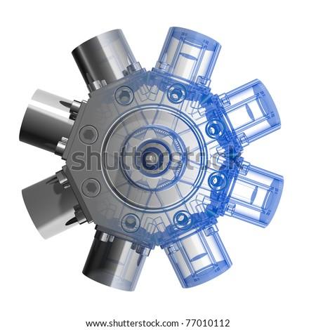 Rotarry engine (3D xray blue transparent)