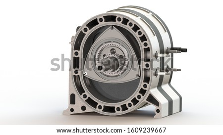 rotary Wankel engine spark plug piston camshaft 3d rendering 3d artwork Stockfoto ©
