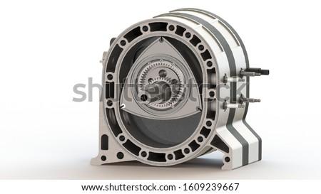 rotary Wankel engine spark plug piston camshaft 3d rendering 3d artwork Stockfoto ©