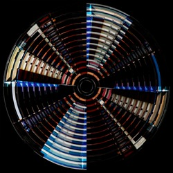 Rotating fan blades resembling domed roof or ceiling. Wheel of turbine. Glowing concentric circles structure. Abstract geometric background of architecture, industry or technology. Round pattern.