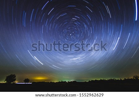 Photo of  rotation of the starry sky around north star