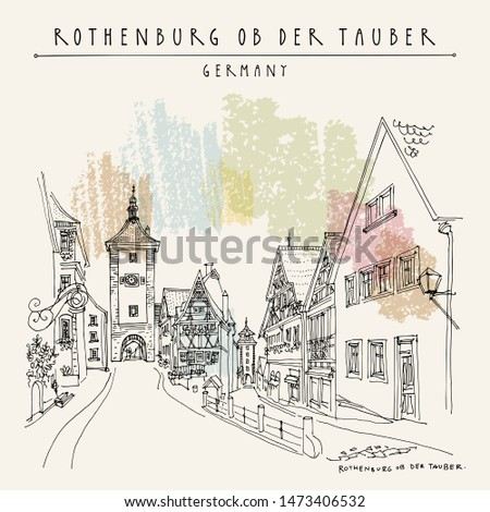 Rothenburg, Germany, Europe. Vector illustration of old center. Walking street, old houses, historic gate. Historical buildings. Sketchy line art drawing. Poster, postcard,  artistic book illustration