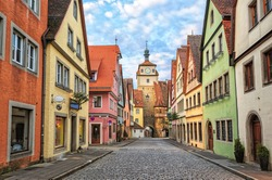Rothenburg ob der Tauber by Nuremberg, Germany. Well preserved medieval german town, UNESCO world culture heritage site, on of the greatest tourist attractions of Europe.