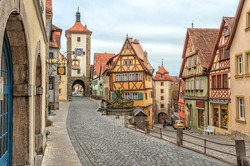 Rothenburg ob der Tauber, famous historical old town, Germany, Europe
