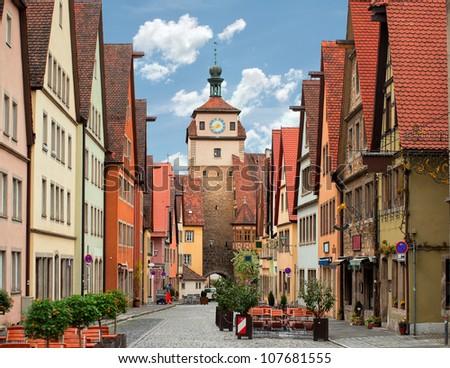 Rothenburg ob der Tauber, old medieval town in Germany near Nuremberg
