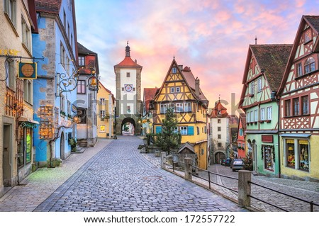 Rothenburg ob der Tauber, picturesque medieval city in Germany, famous UNESCO world culture heritage site, popular travel destination