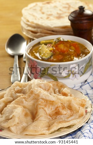 Roti Parata with Lentil Curry. Unsharpened file