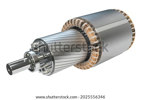 Rotor and stator of electric motor isolated on white background. 3d illustration ストックフォト ©