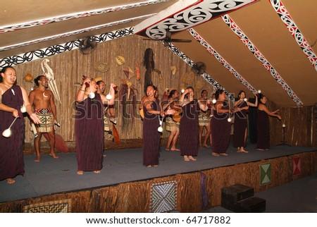 ROTORUA, NEW ZEALAND - MARCH 12: unidentified Maori male and female actors by Maori Dance Exhibition on March 12, 2005 in Rotorua, New Zealand