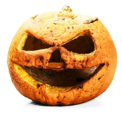 rotten and angry pumpkin lantern jack isolated on white background