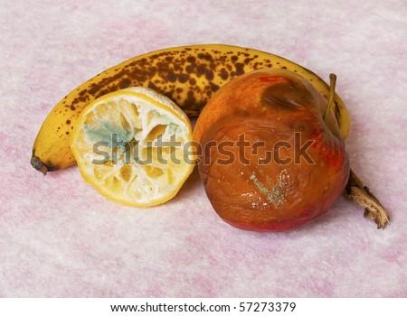 Rotten fruit: lemon, apple and banana - stock photo