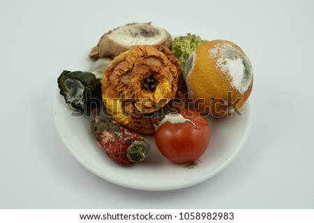 Rotten fruits and vegetables stock images. Moldy fruit and vegetables on a plate. Moldy fruits and vegetables on a white background