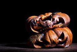 rotten halloween pumpkinin the dark