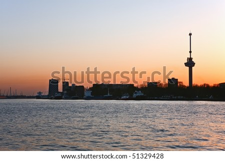 Rotterdam at sunset - stock photo
