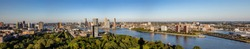 Rotterdam city aerial view. Panorama of Rotterdam city, river Maas and Erasmus bridge, sunny day. Netherlands, banner