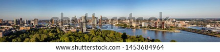 Rotterdam city aerial view. Panorama of Rotterdam city, river Maas and Erasmus bridge, sunny day. Netherlands, banner Stockfoto ©