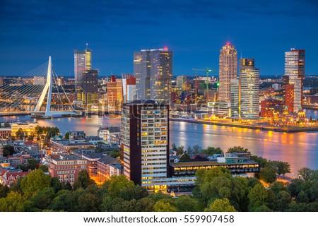 Rotterdam. Cityscape image of Rotterdam, Netherlands during twilight blue hour. Stockfoto ©
